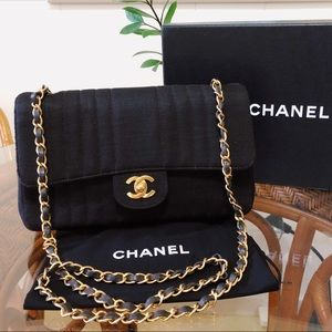 Chanel Black Classic Jersey Flap 24K Gold Vintage